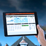 image of a tablet with weather hub software