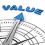 image of compass pointing to value